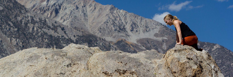 Kopftraining: Bouldern in Bishop. Endlich oben angekommen