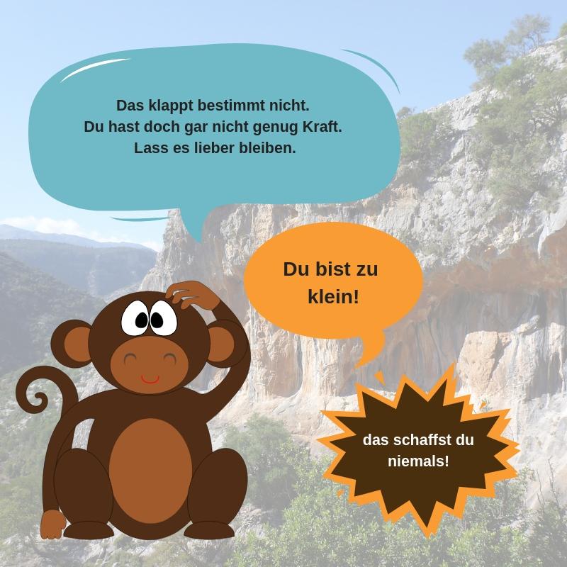 Kritiker Affe mit negativen Gedanken