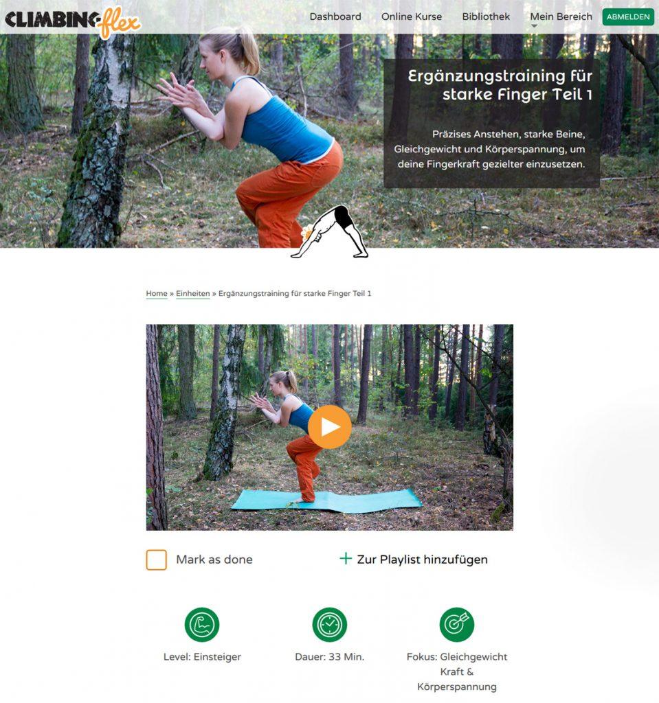 Screenshot Fit4Climbing Yoga Einheiten: Ergänzungstraining für starke Finger Teil 1